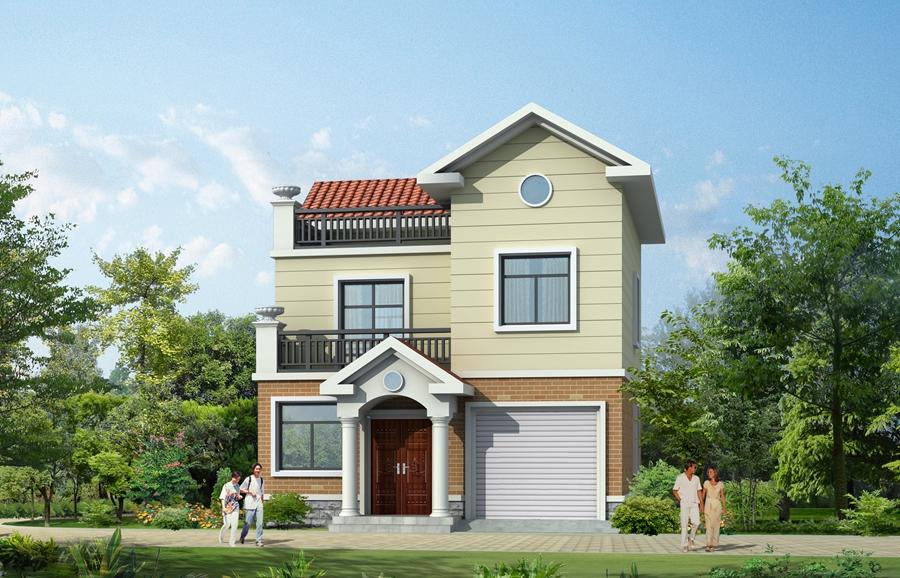 农村房屋设计图二层带阁楼首层60平米效果图