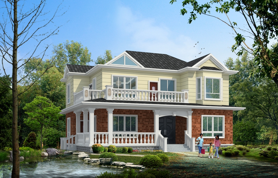 別墅設計圖_雙拼三層帶車庫自建房及效果圖/首層:227平方米;建筑開間
