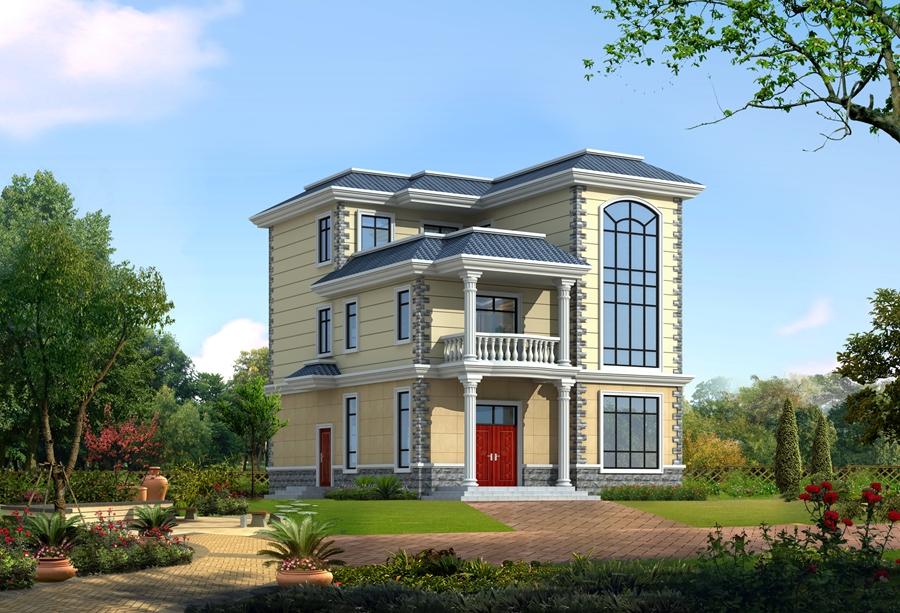 首层130平方米带露台方案三层别墅设计图纸新农村自建房施工图二层半