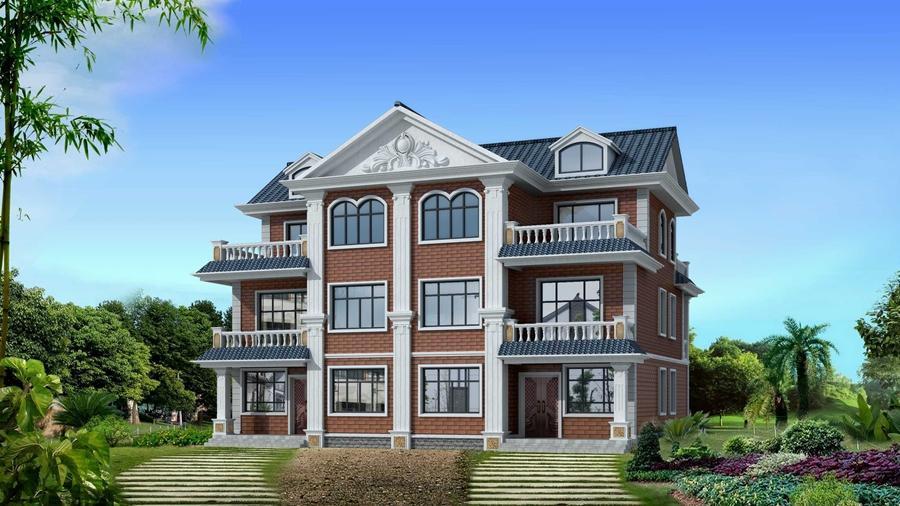 別墅設計圖_雙拼三層帶車庫農村自建房設計及效果圖_北京別墅設計