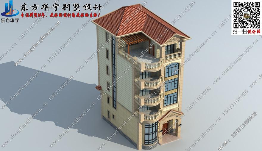 五层农村别墅外观效果图 首层112平方米图纸编号d151009